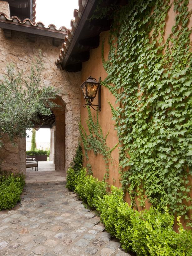 Stone Walkway Toward Arched Entryway