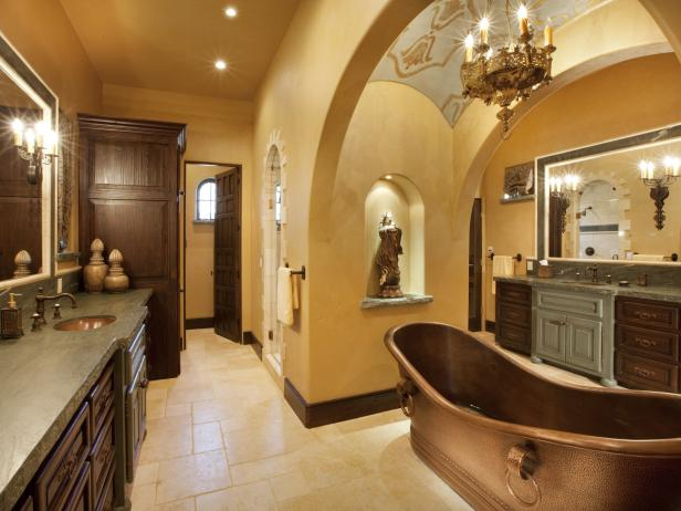 Gold Master Bathroom With Copper Slipper Tub
