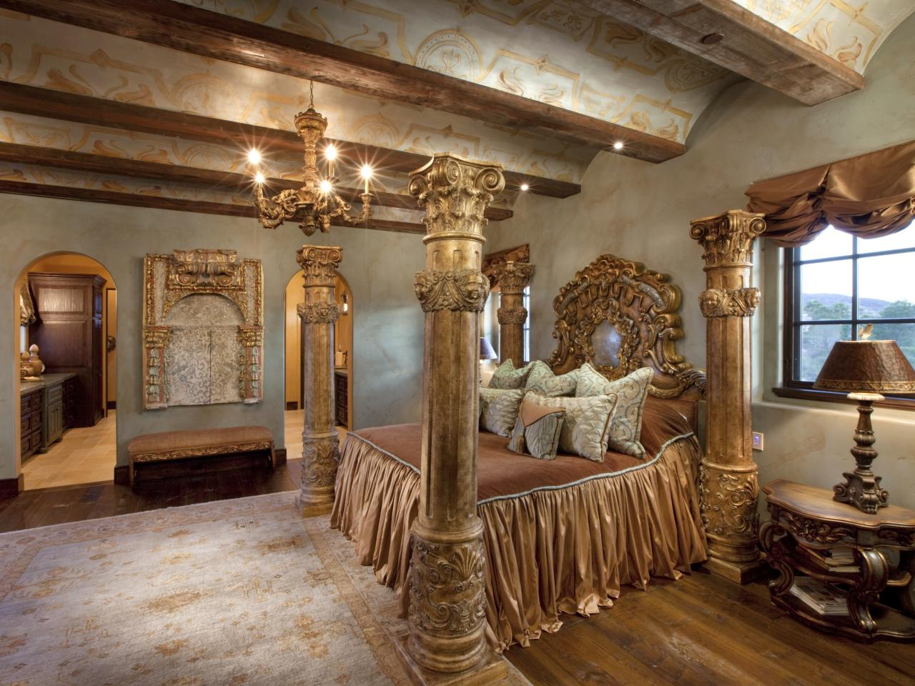 Gold Ornate Bedroom With Four Poster BedPhoto Page   HGTV. Ornate Bedroom Furniture. Home Design Ideas