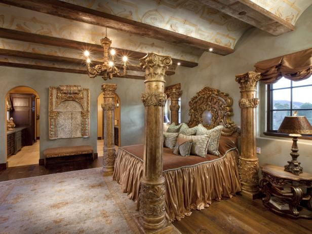 Gold Ornate Bedroom With Four Poster Bed