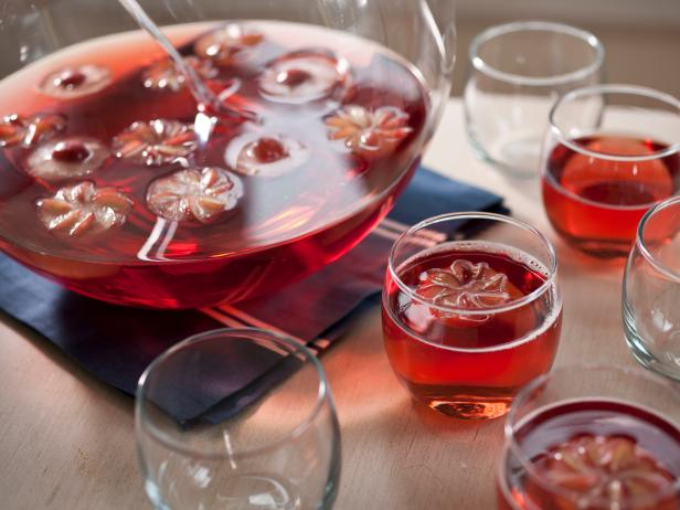 Sparkling Sunshine Punch With Fruit Flowers
