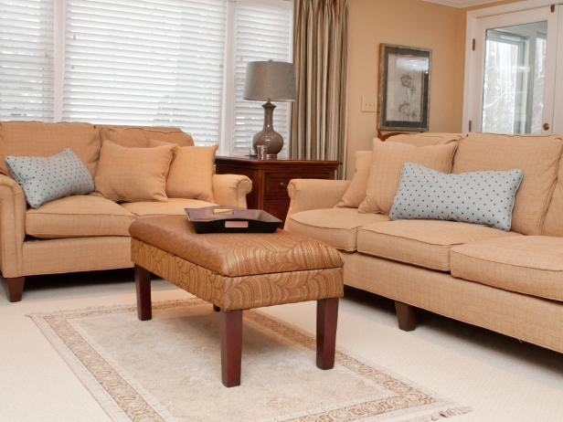 Orange Living Room With Matching Sofa & Loveseat