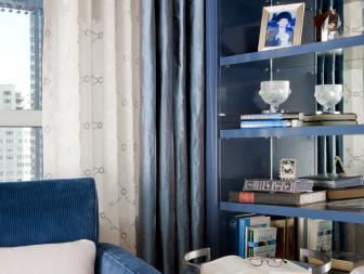 Blue Transitional Library With Corduroy Chair