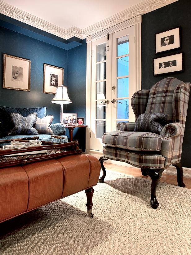 Blue Living Room With Plaid Chair and Crown Molding