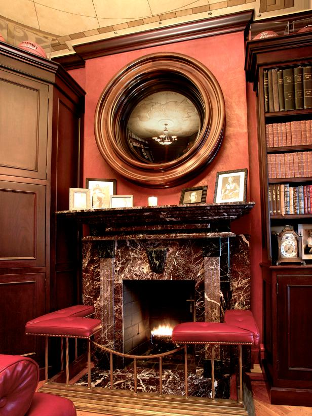 Red Room With Fireplace and Built-In Shelf