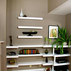 Built In Bookshelves and Floating Shelves
