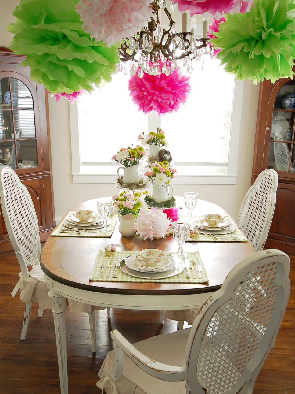 Colorful spring table setting hgtv for Dining table decoration ideas home
