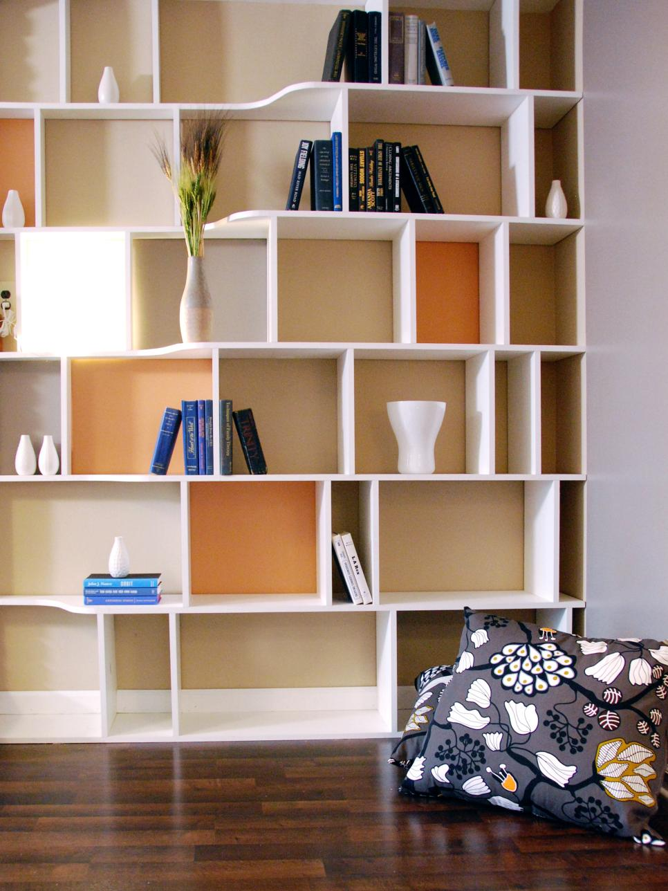 Functional and stylish wall to wall shelves hgtv Shelves design ideas