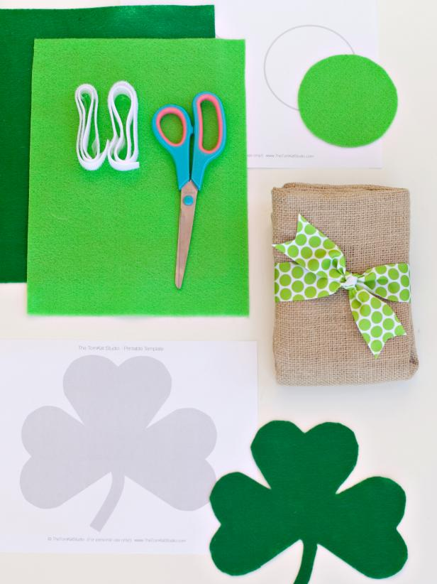 Materials for Shamrock Pillow