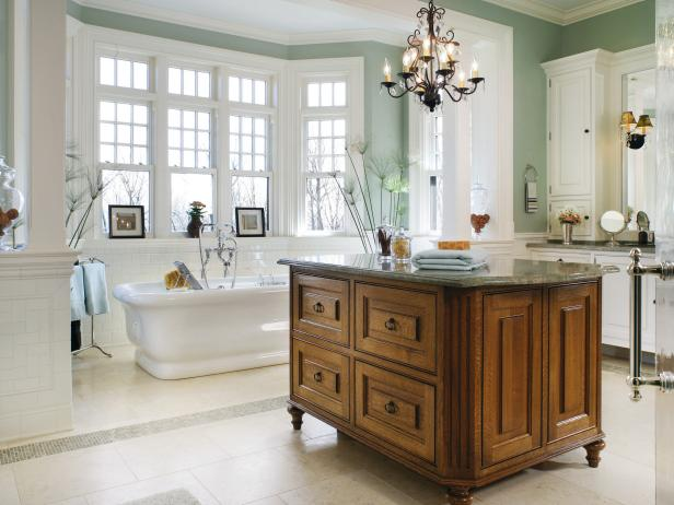 Large Green and White Transitional Bathroom With Island