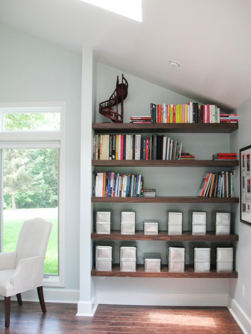 Utilize spaces with creative shelves hgtv How to store books in a small bedroom