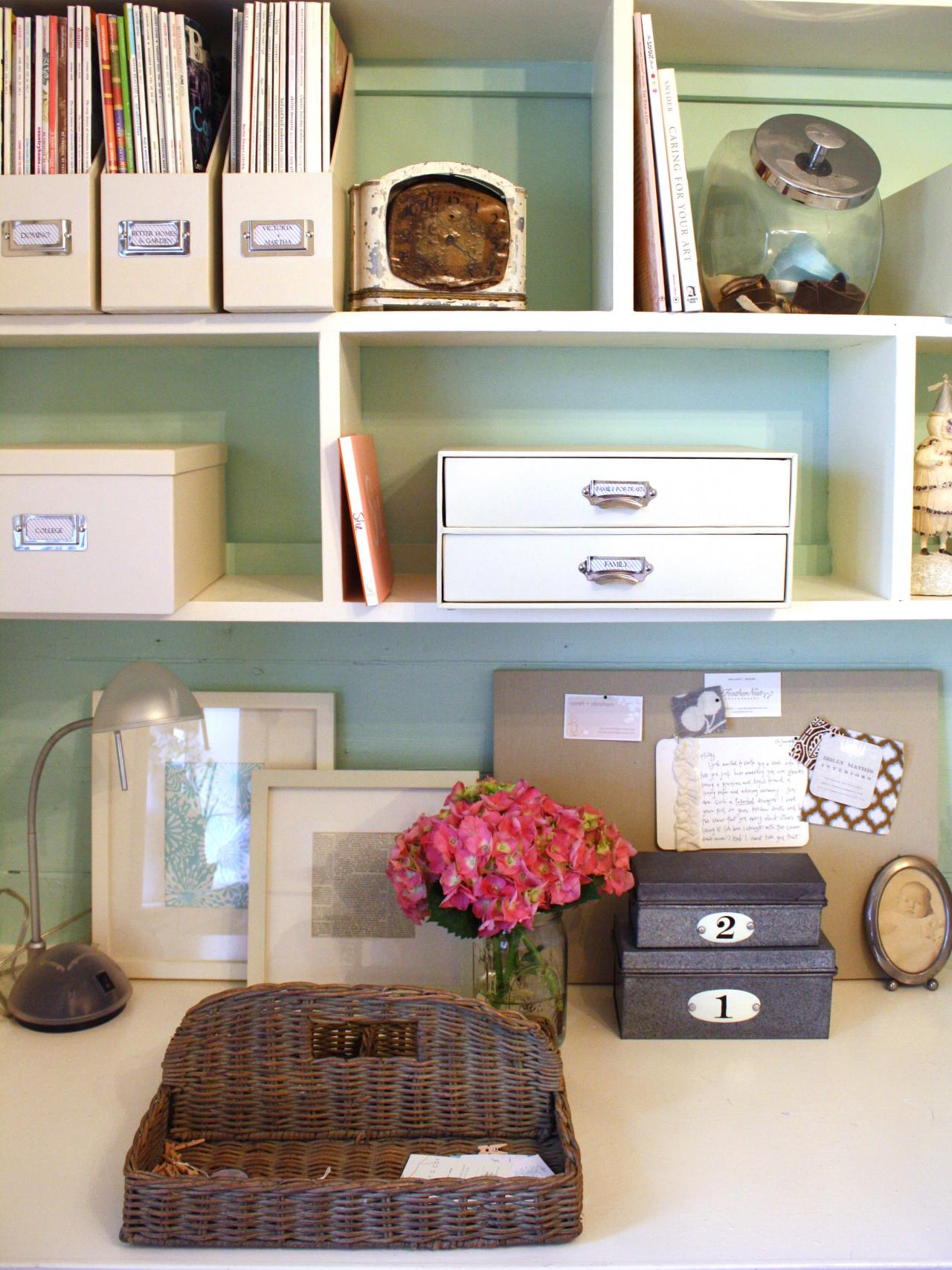 Chic organized home office for under 100 hgtv How to decorate a home office
