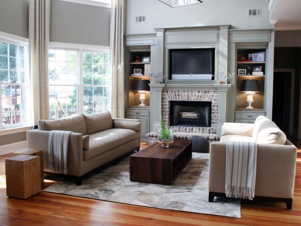 Neutral Living Room With Sofas, Coffee Table and Built-In