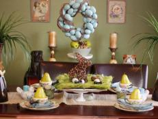 Easter Table Setting With Egg Wreath