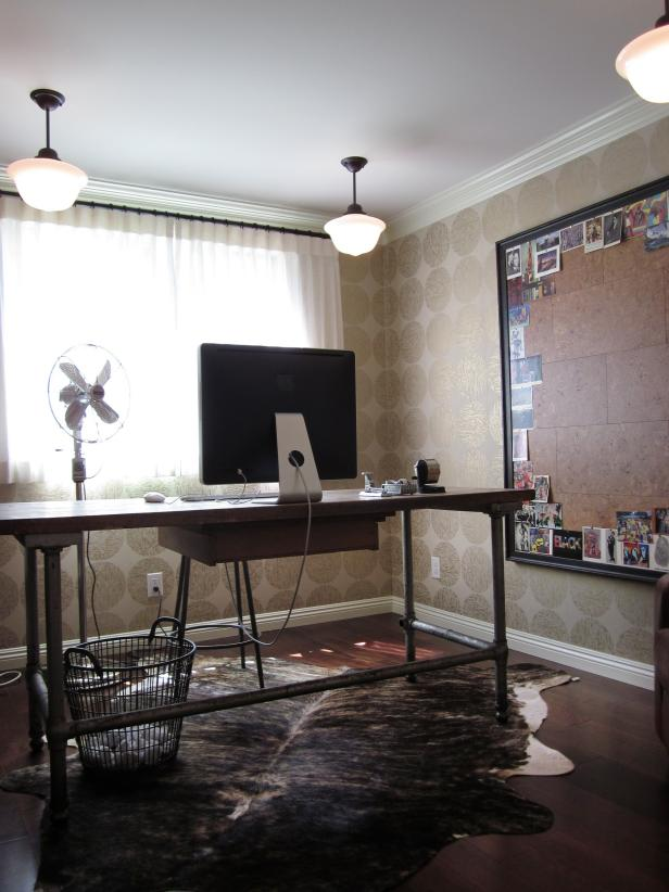 Home Office with Animal Hide Rug and Industrial Desk