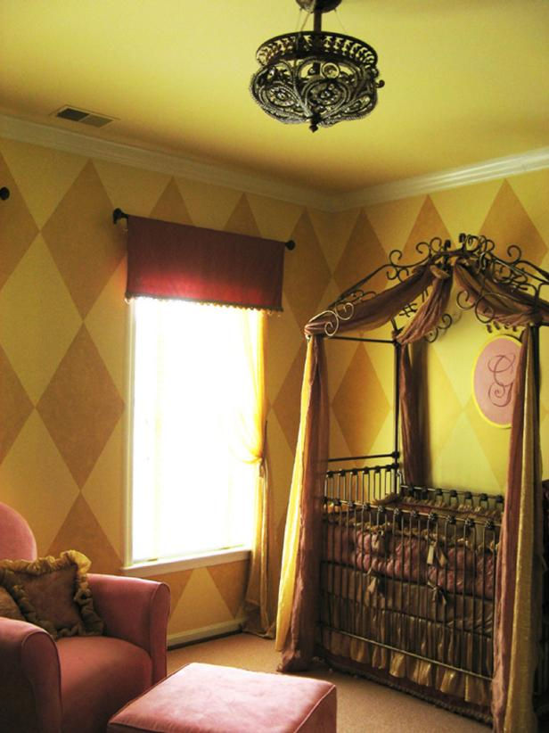 Traditional Girl's Nursery With Diamond Wallpaper
