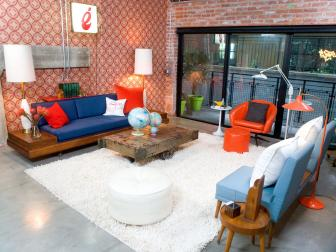 Industrial Kitsch Living Room With White Shag Rug