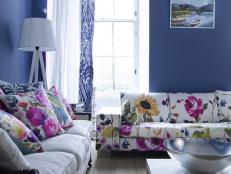 Floral Sofa in Indigo Living Room