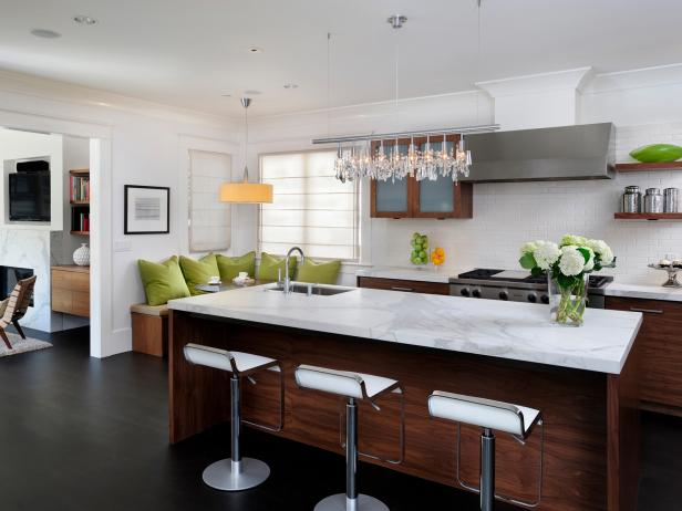 White Contemporary Kitchen With Marble-Topped Island