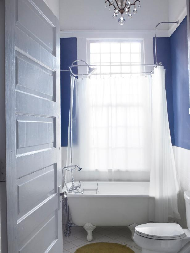Blue Bathroom With Clawfoot Tub