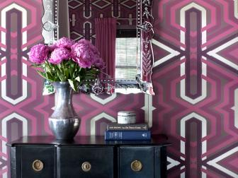 Contemporary Foyer With Purple Patterned Wallpaper