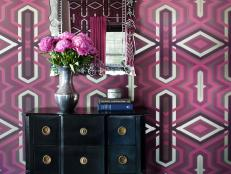 Eclectic Entryway With Purple Wallpaper