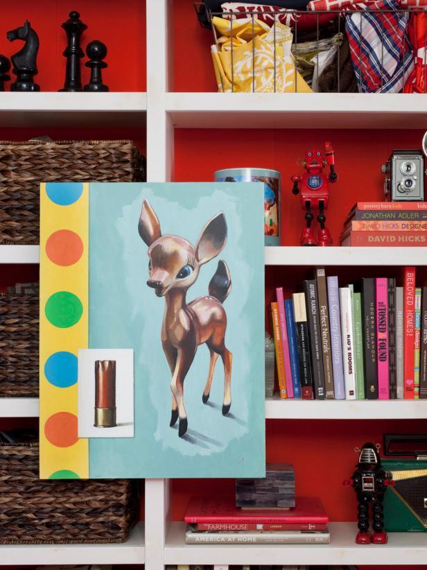 Bookshelf With Deer Painting