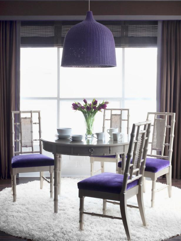 White Eclectic Dining Space With Purple Accents