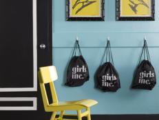 Modern Blue Kids' Room With Coat Hooks