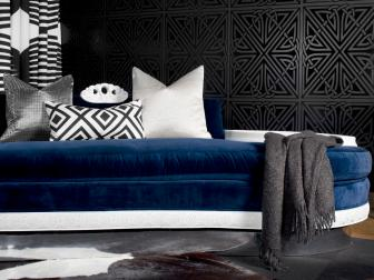 Contemporary Blue Settee and Graphic Black Wallpaper