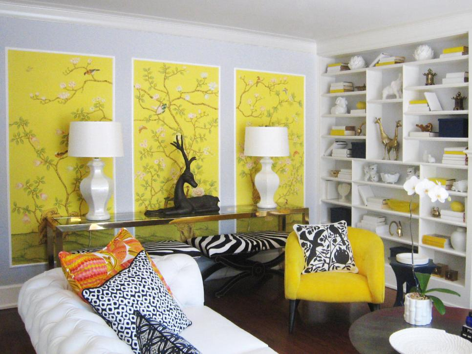 Summer color trends hgtv for Living room yellow and gray