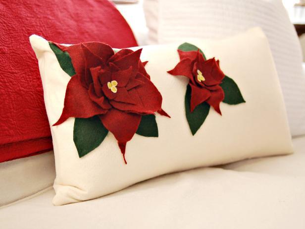 Poinsettia Holiday Pillow