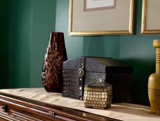 Deep Green Wall and Wooden Chest