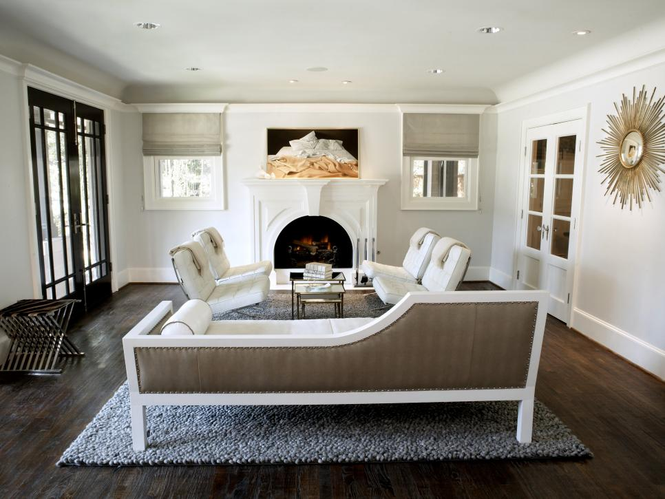 White French Doors In Living Rooms With Brown Molding