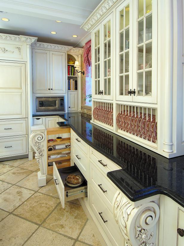 traditional white kitchen with architectural details