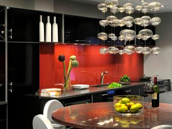 Contemporary Glass Chandelier in Modern Kitchen