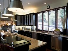 Stylish Kitchen With Dark Wood Cabinets