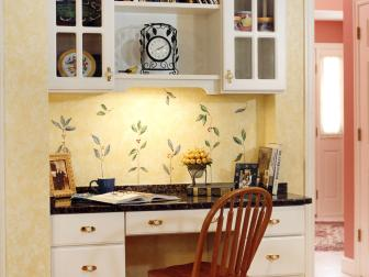 Yellow Cottage-Style Kitchen With Built-In Desk