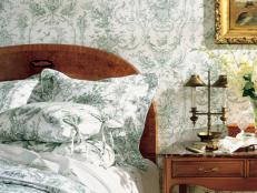 Country Bedroom With Green-and-White Toile Wallpaper