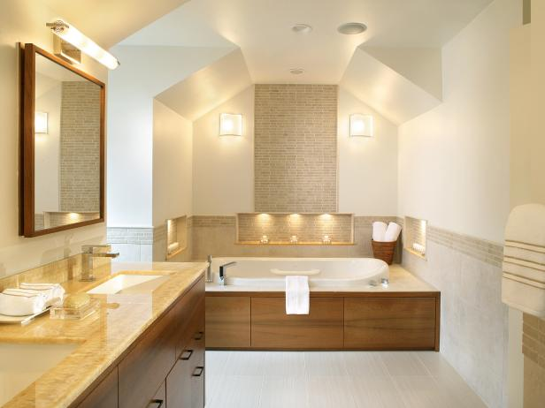 Neutral, Contemporary Bathroom With Enclosed Tub