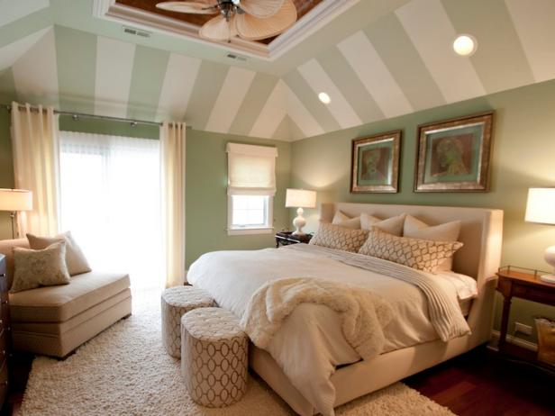 Master Bedroom With Striped Vaulted Ceiling