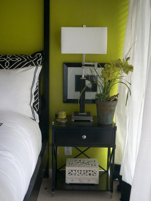 Bedroom With Contemporary Side Table
