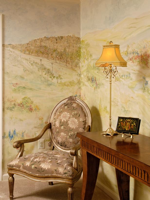 Traditional Sitting Nook With Pastoral Mural and Louis XVI-Style Chair