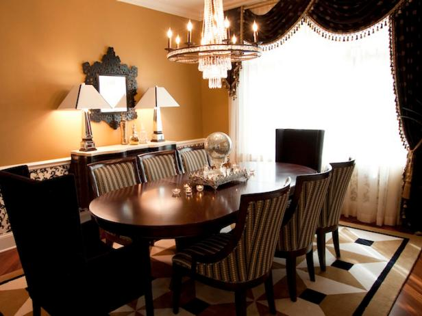 Dining Room with Crystal Chandelier