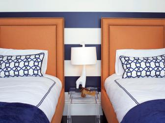 Contemporary Blue-and-White Striped Boys' Room