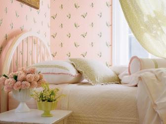 Romantic Pink and Green Girls Bedroom