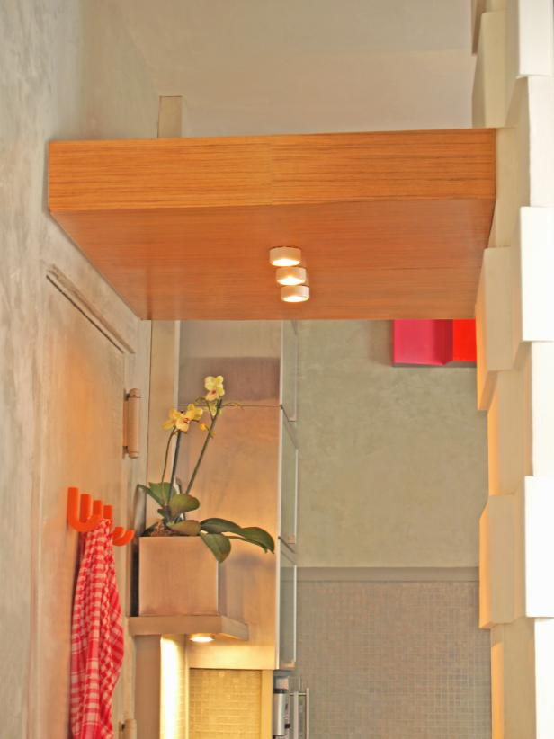 Contemporary Entryway With Floating Ceiling
