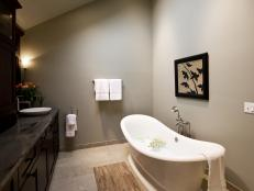 Peaceful Zen Bathroom With Freestanding Soaking Tub