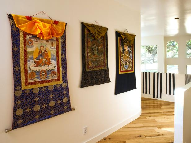 Hallway With Ornate Wall Tapestries