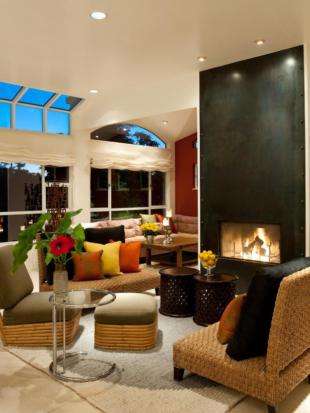 Contemporary Living Room with a Black Fireplace